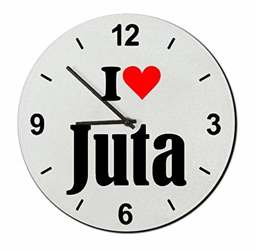 Druckerlebnis24 Glasuhr I Love Juta eine tolle Geschenkidee die von Herzen kommt| Wanduhr| Geschenktipp: Weihnachten Jahrestag Geburtstag Lieblingsmensch