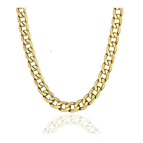 ENYU Cadena Curb de Oro para Hombre, Collar de Cadena Cubana de 10 mm para Hombre, Joyería de Acero Inoxidable Chapado en Oro, Cadenas de eslabones para el Cuello para Hombre, Mujer, Niño