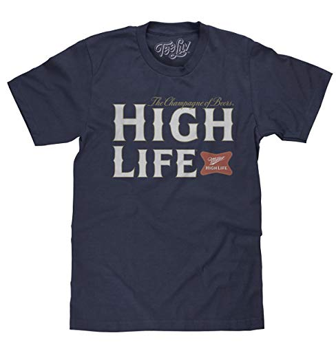 Tee Luv Miller High Life Shirt - Miller Champagne of Beers Logo T-Shirt (Navy Heather) (M)