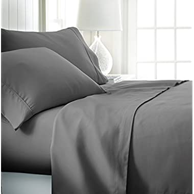ienjoy Home Hotel Collection Luxury Soft Brushed Bed Sheet Set, Hypoallergenic, Deep Pocket, Full, Gray