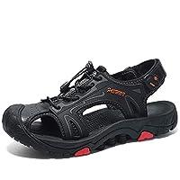 [URLATEST] サンダル メンズ レザー ファッションサンダル サマーサンダル 幅広サンダル 歩きやすい かっこいいサンダル 通気 快適 かっこいい履きやすいサンダル ブラック 27.5CM