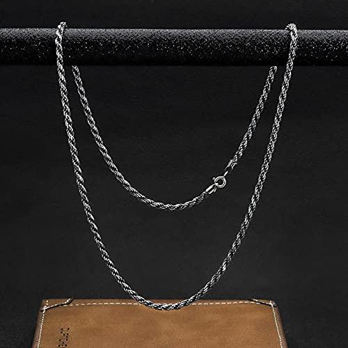 WQZYY&ASDCD Collar De Mujer Collar De Plata De Ley 925 Pareja Moda Cómodo Retro Simple-60Cm2Mm7.2G_Plaqué_Argent_Antique