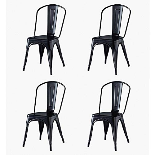 Hironpal Metal Tolix Garden Dining Chair Set of 4 Industrial Vintage Stackable Kitchen Chair Gun Metal High Back Black for Home Bistro Restaurant Wedding Cafe Patio Outdoor and Indoor