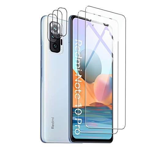 Effcotuo Protector de Pantalla para Xiaomi Redmi Note 10 Pro Cristal Templado Protector de Lente de Cámara para Redmi Note 10Pro Cámara, [Cobertura máxima][Sin Burbujas] HD Cristal Vidrio Templado