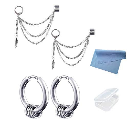 XHBTS 4 piezas de borla de oreja, pendientes de cartílago, pequeño aro de enredadera con clip en forma de hoja de pluma, cadena de múltiples capas, para hombres y mujeres, con mini tela y minitorreja