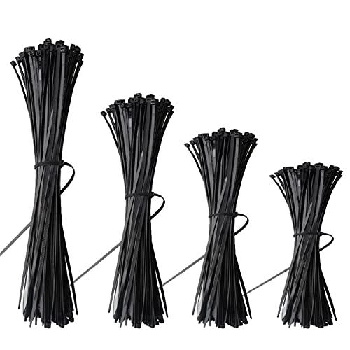 600Pcs Colliers de Serrage, Attache Câble Collier Serrage Plastique Serre Câbles Nylon Zip Tie Nylon Autobloquantes pour Colliers Serre-Cable et Connecter les Objets - 100mm/150mm/200mm/250mm, Noir
