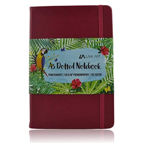 Lani Art Dotted Bullet Journal Notizbuch A5 Gepunktet, Hardcover Dot Grid Notebook, Premium Papier 120g/m², Kunstleder Notizbuch Punktkariert (Rot)