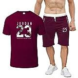 JNDM Traje de camiseta deportiva impreso para hombre, manga corta, ropa deportiva de ocio, manga corta para correr, deportes H-M