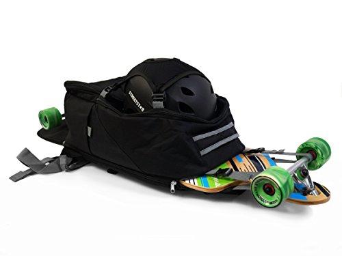 """MAXOfit® Longboard-Skateboard Rucksack """"LB-Pro"""" Backpack Unisex, Viele Fächer und Taschen Longboardrucksack, Großer Stauraum 38L, 51x36x23cm, Schwarz"""