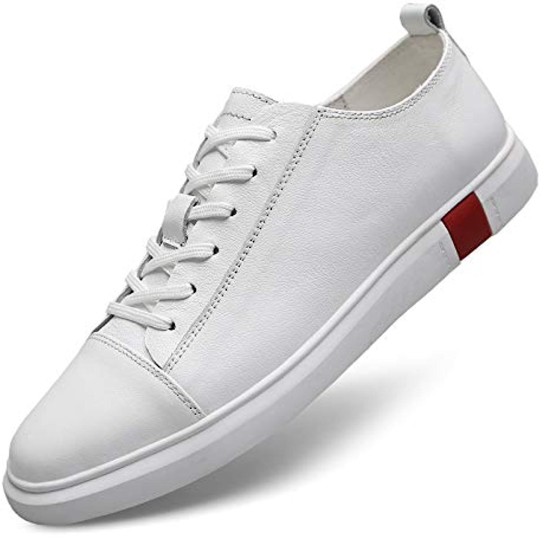 LOVDRAM Men'S shoes Autumn New Men'S shoes Fashion Wild Leather Men'S shoes Breathable Casual Flat White shoes Men