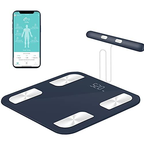 HEALTHKEEP Bascula de Baño Peso Baño Peso Digital Grasa Corporal Digital Inteligente con 8 Electrodos, alta precisión, con 18 Datos Básicos, LED Pantalla brillante, Puede contener 45 pies de pie.