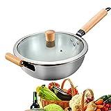 XYYZX Sartén Sartenes wok Antiadherentes Induccion Para Todo Tipo de cocinas Incluido 304 Acero inoxidable Sin humo aceitoso, plata, Fácil de limpiar, regalo para padres 32 cm