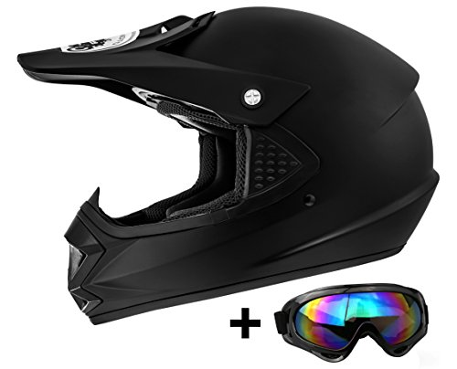 ATO Moto Kids Pro Kinderhelm in Schwarz Matt inklusive MX Motorrad Brille pocket bike