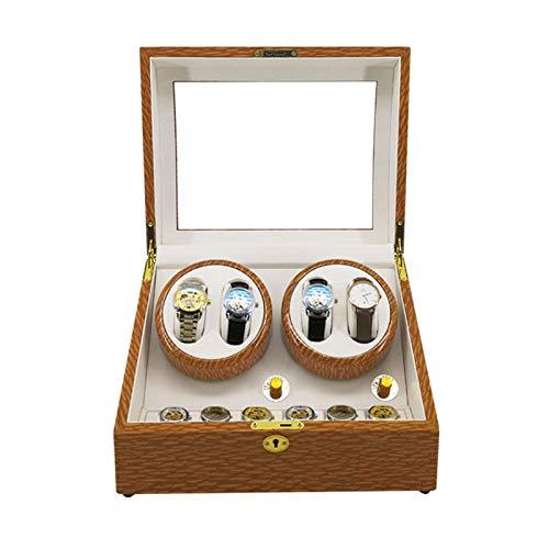 AWJ Cajón de Almacenamiento para Relojes y Joyas Enrollador de Relojes, Caja de 4 + 6 Relojes Motor silencioso Antimagnético A Prueba de Polvo - 5 Modos de rotación Estu