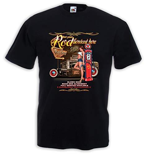 Hot Rod Pinup US Car Rockabilly - Camiseta de Manga Corta Negro XL