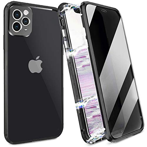 Anti peep Magnetic Case for iPhone 11 Pro Max, Camera Lens Full Protection, Privacy Screen Protector Anti Peeping Magnetic Adsorption Double Sided Tempered Glass Metal Frame Full Covered Anti-Spy Case