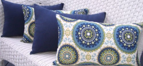 Resort Spa Home Decor Set of 4 Indoor/Outdoor Decorative Lumbar/Rectangle Pillows - 2 Blue, Green Bohemian & 2 Solid Navy Blue