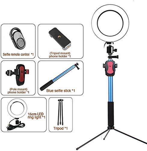 LED-vloerlamp - 16 Cm Dimbare Ring Make-uplamp - Met Metalen Statief, Telefoonclip En 1,5 M Intrekbare Steunbalk - Voor Blog Selfie Fotofotografie
