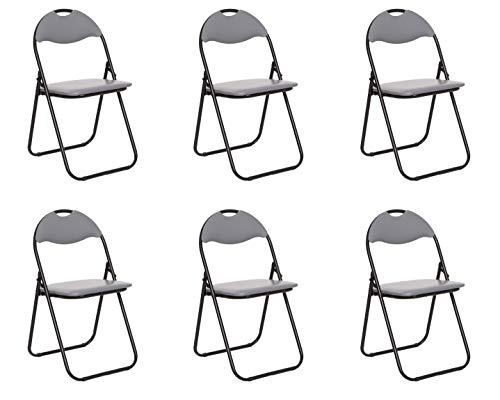 Colourliving Keukenstoel, 6-delige set, klapstoel, logeerstoel, tuinstoel, metaal, in zwart gevoerde zitting en rugleuning in grijs