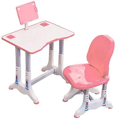 Juego de Escritorio y Silla de Estudio para Niños Infantil Escritorio Combinado Estudio Mesa de plástico Tabla Trabajo Puede ser levantado y bajado Anti-Joroba (Set 23.6x15.7) (Color : Pink)