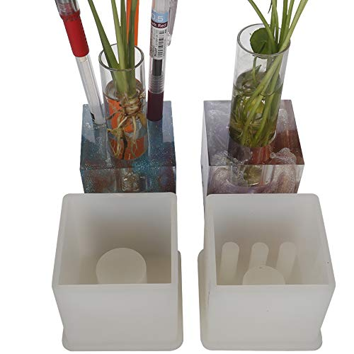 2 Pack DIY Multi-Function Pen Holder Resin Molds, Cube Floating Plants Molds, Hydrophyte Mold, Aquatic Planter Molds, Free 2 Pack Transparent Glass Tube for Floating Plant