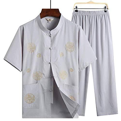 Anxwa - Traje de tai chi de algodón y lino, para hombre chino tradicional