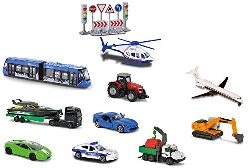 Majorette 212058590 – Set mit 10 Fahrzeugen mit Verkehrszeichen