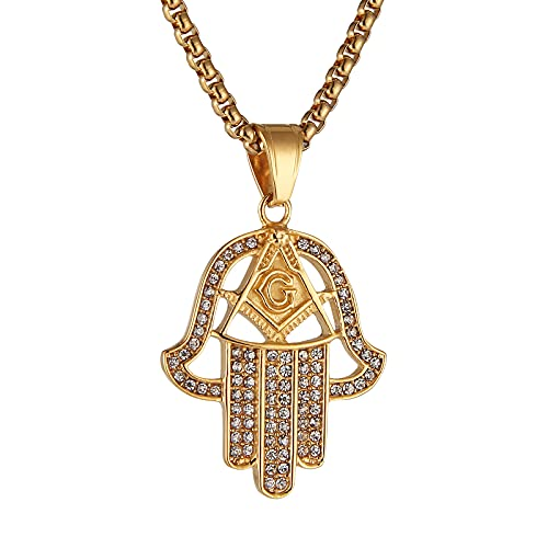 HZMAN Masonic Necklace for Men, 18K gold plated CZ hand of Fatima Pendant