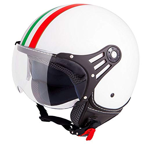 Vinz Casco Fiori Scooter Jet | en tallas XS-XL | Casco Jet con rayas | Certificado ECE | Casco de moto con visera (Blanco Italia, Small)