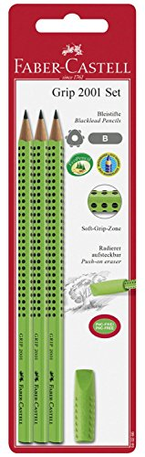 Faber-Castell 580266 - Grip 2001 Set, 3 Bleistifte, inklusive Eraser Cap, hellgrün
