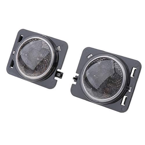 B Blesiya Paquete de 2 Luces de Posición Laterales de Guardabarros LED ámbar con Lente Ahumada Transparente para Wrangler JK 07-16