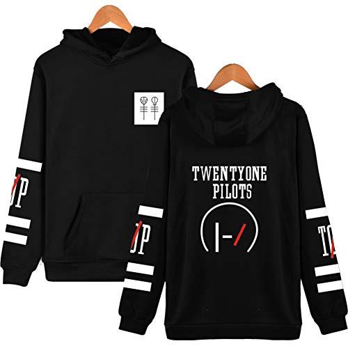 YEOU Unisex Hoodie Letter Printed Round Collar Hoodie Coat Jacket Pullover Sweatshirt (Black,L)