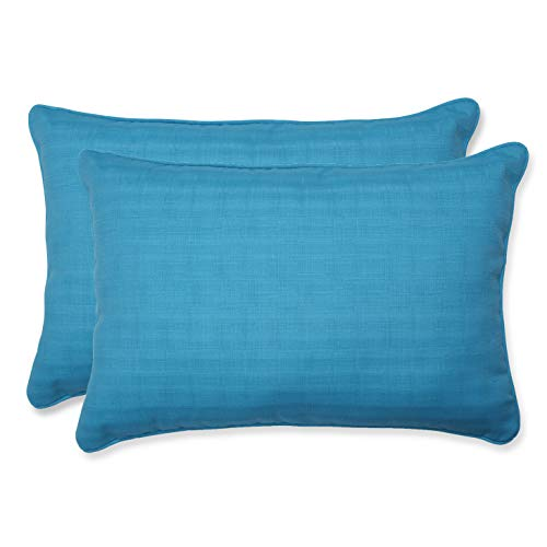 Pillow Perfect Outdoor Veranda Over-Sized Rectangular Throw Pillow, Set of 2, Blue