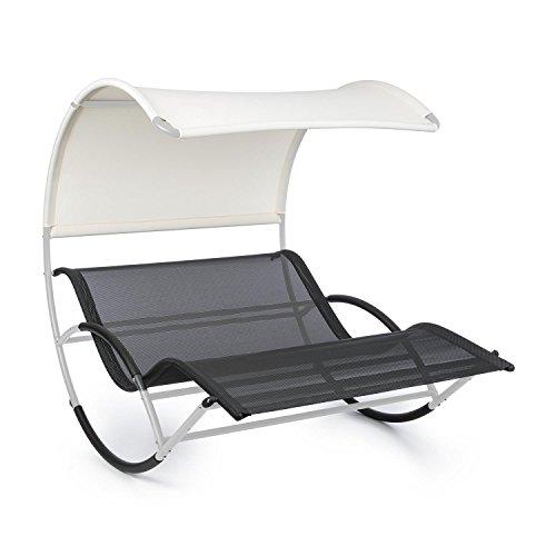 Blumfeldt The Big Easy - Tumbona techada, Mecedora ergonómica, Uso Recomendado Exteriores, Impermeable, Protección Rayos UV, Estructura de Acero, Peso máx. soportado 350 Kg, Plateado