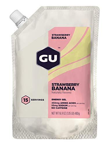 GU Energy Original Sports Nutrition Energy Gel, 15-Serving Pouch, Strawberry Banana