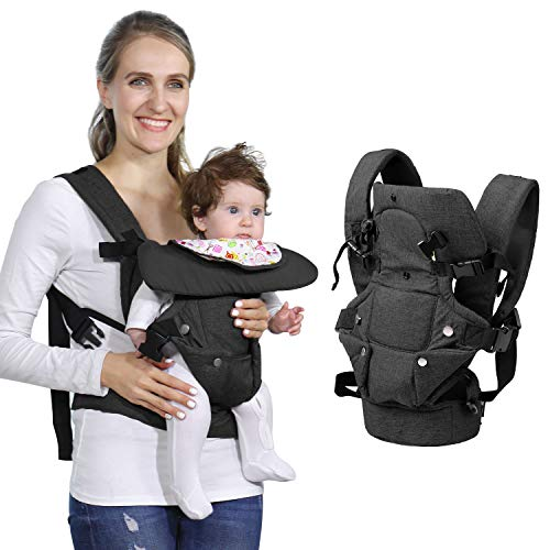Baby Soft Carrier, 4-in-1 Ergonomic Convertible Carrier with Adjustable Straps and Breathable Mesh (Black)