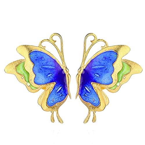 BO LAI DE S925 Silber Ohrringe, vergoldete Schmetterlings-Ohrringe, Damen-Ohrringe, einfache Art Ohrringe, verbrannte Blaue Handwerkskunst, handgefertigter Schmuck 15 * 11mm (blau)