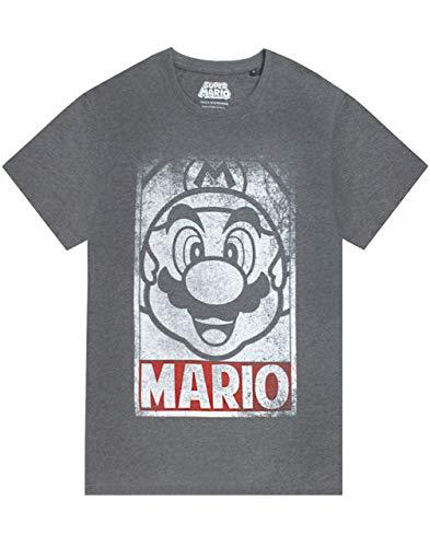 Super Mario Character Poster Herren graues Kurzarm-T-Shirt