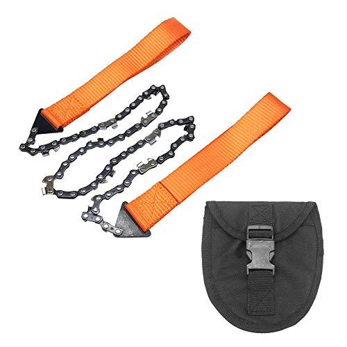 MiOYOOW Motosierra de camping, bolsillo de mano de la cadena de la sierra plegable de supervivencia de 24 pulgadas, 10 dientes con bolsa de transporte para la caza y el senderismo