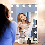 Hansong Large Vanity Mirror Makeup with Lights,Hollywood Lighted Mirror with 3 Color Lighting Modes for Tabletop Mirror & Wall Mounted,15pcs Dimmable Bulbs,USB Outlet and Smart Touch Control