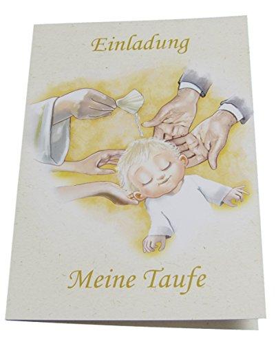 Einladungskarten zur Taufe für Junge & Mädchen im Set - Je 12x Klappkarte Einladung Meine Taufe & Briefumschläge & zum Foto einstecken (Motiv - Baby Wird getauft, DIN A6)