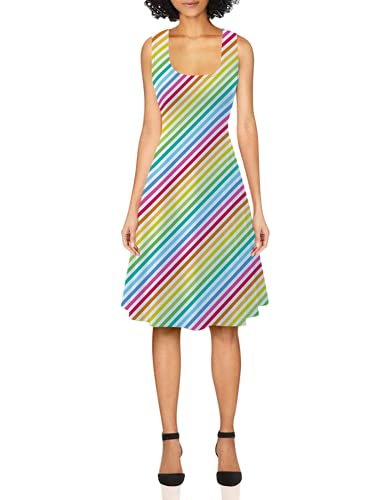 uideazone Ladies  Deep U Neck Dress Ladies Sleeveless Stripe A Line Sundress Casual Flared Pleated Halter Dress for Party Beach Vacation