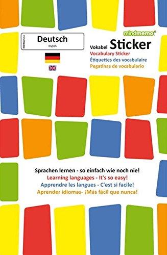 mindmemo Sticker - Las pegatinas de vocabulario (Alemán, Inglés para principiantes)
