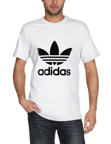 adidas Mens Trefoil T Shirt WhiteBlack Large