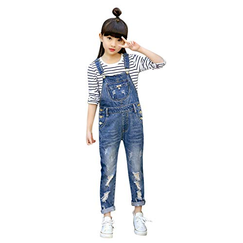 De feuilles Mädchen Latzhose Lang Hose Kinder Zerrissen Jeans Jumpsuit Pants Denim Overalls