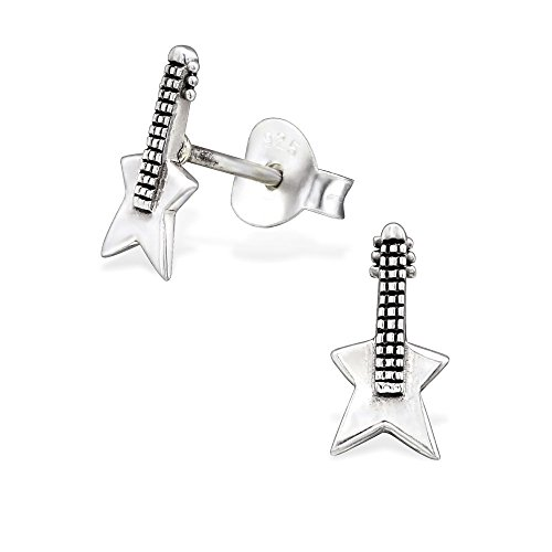 The Rose & Silver Company Women 925 Sterling Silver Guitar Stud Earrings