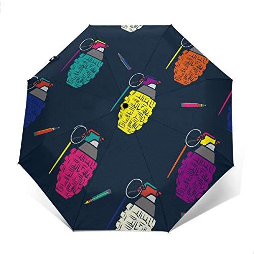 Cartoon Granate Automatischer Dreifach Faltbarer Regenschirm Sonnenschirm Sonnenschutz Außen Druck