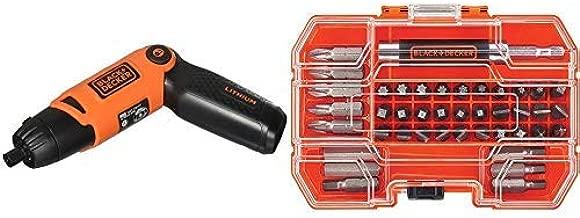 BLACK+DECKER Li2000 3.6-Volt 3 Position Rechargeable Screwdriver Orange/Black with BLACK+DECKER BDA42SD 42-Piece Standard Screwdriver Bit Set