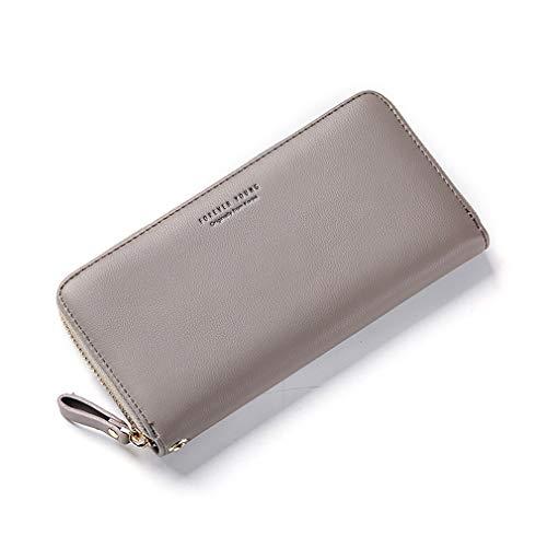 Cartera para mujer de gran capacidad, cartera para cartera, cartera para mujer, monedero para el teléfono móvil, gris (Gris) - 5011809654665