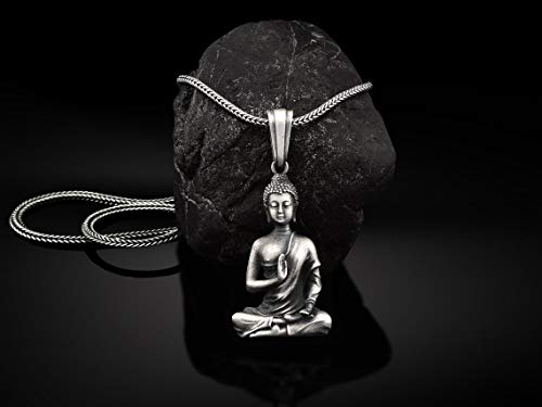 Sterling Silver Buddha Men's Necklace, Mens Gift Buddha Pendant, Unisex Buddha Necklace With Chain, Oxidized Silver Mens Jewelry, Men's Gift